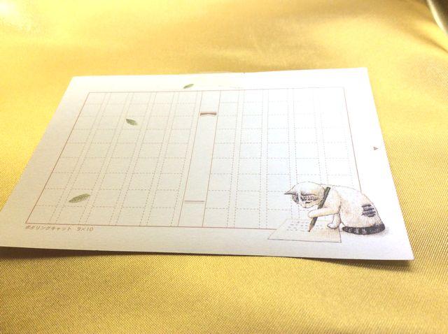 ポタリングキャットミニ原稿用紙ハチワレ猫全体の画像