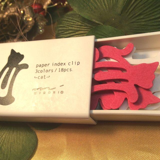 紙のインディックスクリップネコ柄の箱の画像