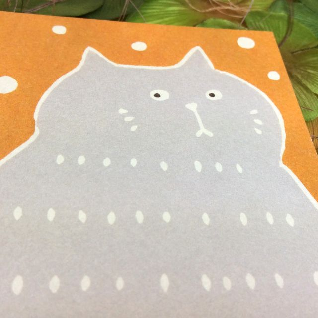 はねうたゆみこさんの猫まめふみ箋セットの便箋のクローズアップ画像