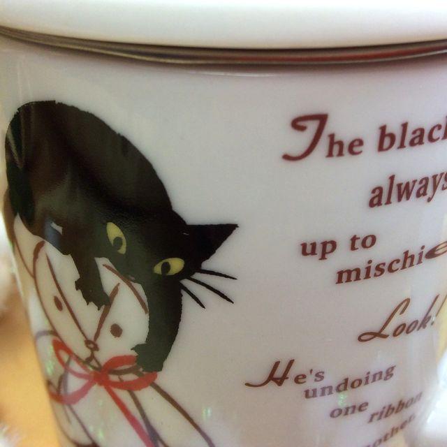 仲田愛美先生の黒猫茶漉し&蓋付きマグカップの茶漉しと蓋をした状態のクローズアップ画像