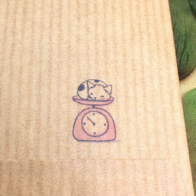 ポタリングキャットさんの猫の茶封筒12枚入りはかりの裏側のクローズアップ画像