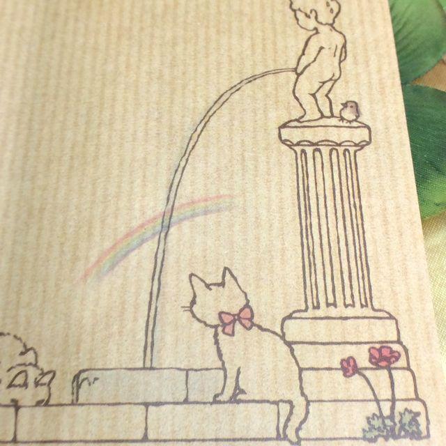 ポタリングキャットさんの猫の茶封筒12枚入り虹のクローズアップ画像