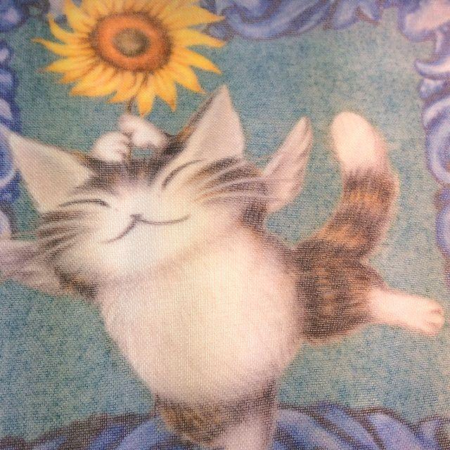 池田あきこ先生のわちふぃーるど社のダヤンのアートプリントストールアンダルシアのひまわり部分のクローズアップ画像