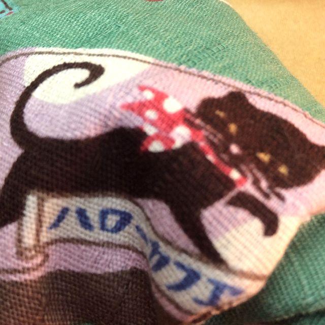 ハンドメイド猫の首輪グリーンの柄アップ写真