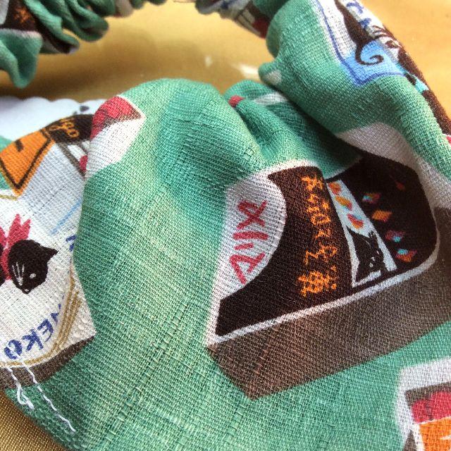 ハンドメイド猫の首輪グリーンの裏側の写真