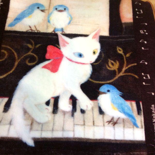 仲田愛美先生のリボンキャットタオルハンカチピアノの全体写真