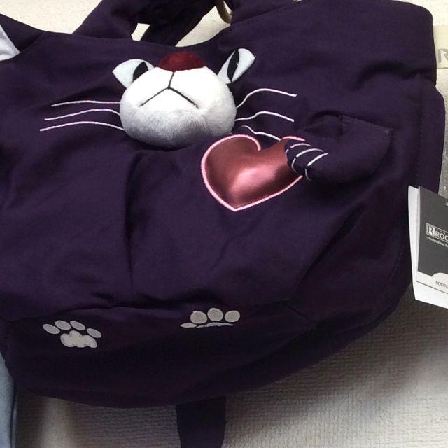 ルートートアニマル猫バッグパープルのしっぽ部分アップ写真