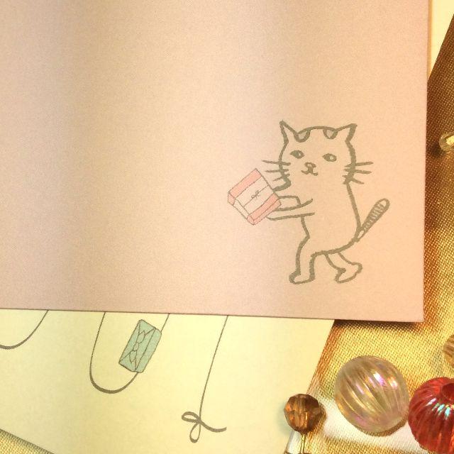 くちばしさくぞうさんレターセット「お届けいたしニャす」の封筒の柄のアップ写真