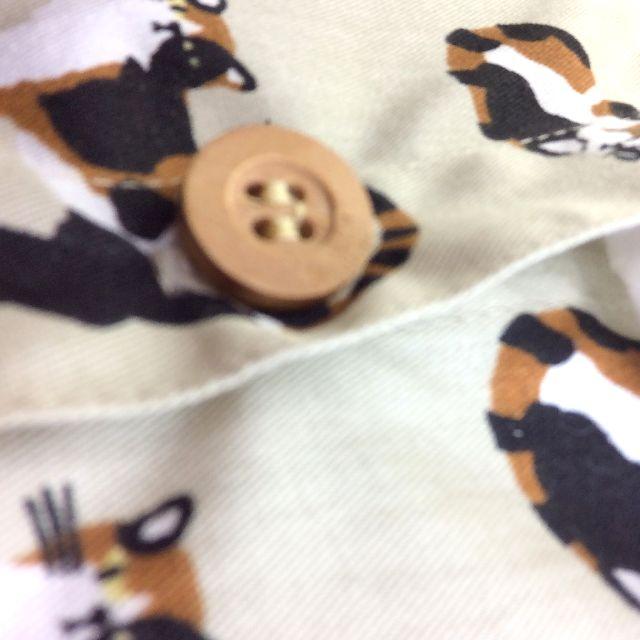 三毛猫ティッシュボックスケースのボタン部分のアップ写真