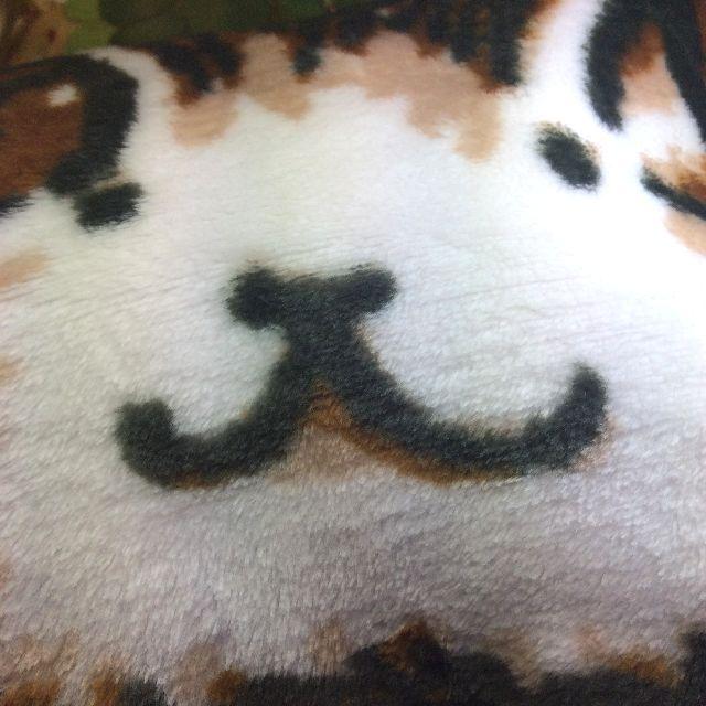 池田あきこ先生のわちふぃーるどダヤンのフリースひざ掛けロンドン柄ダヤンの顔部分アップとフリースの質感写真