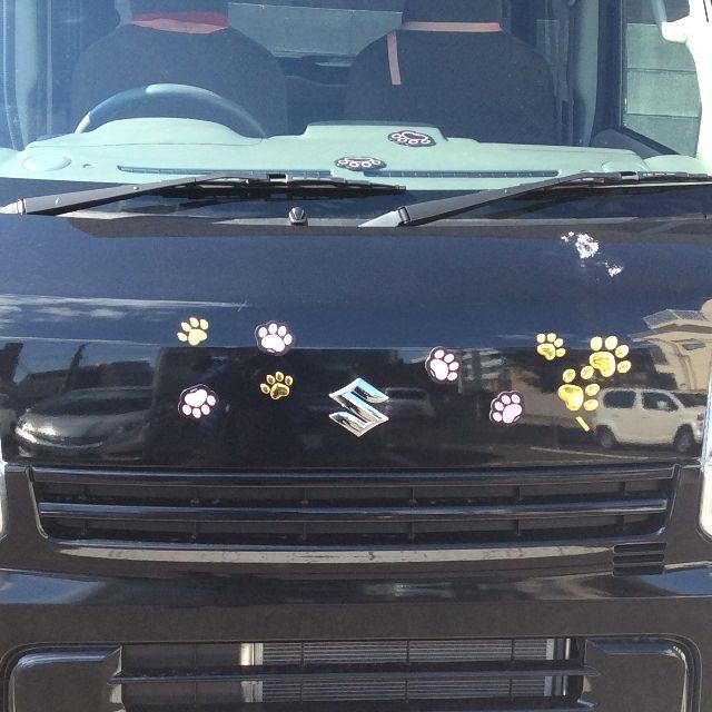 猫の肉球マグネットピンク色と猫の肉球ステッカーのとゴールド色を大きな青い馬の車の前面に貼った全体の写真