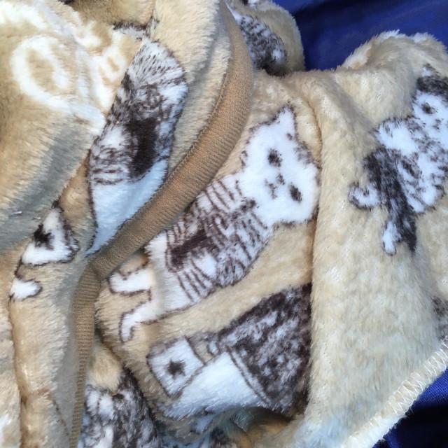 猫柄ベージュ色フリース肩掛けの生地のクローズアップ画像