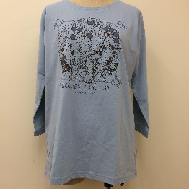 猫のダヤンのクルーネック7分袖Tシャツ「GOLDEN HARVEST」柄の全体画像
