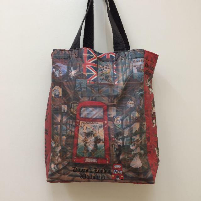 猫のダヤンのレッスンバッグ・ラミネート製「ロンドンⅡ」柄の背面側の画像