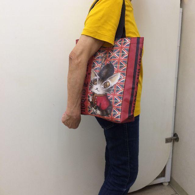 猫のダヤンのレッスンバッグ・ラミネート製「ロンドンⅡ」柄を肩に掛けた画像