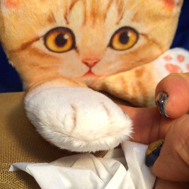 フェリシモのティシュボックスカバーのトラ猫の手のクローズアップ画像