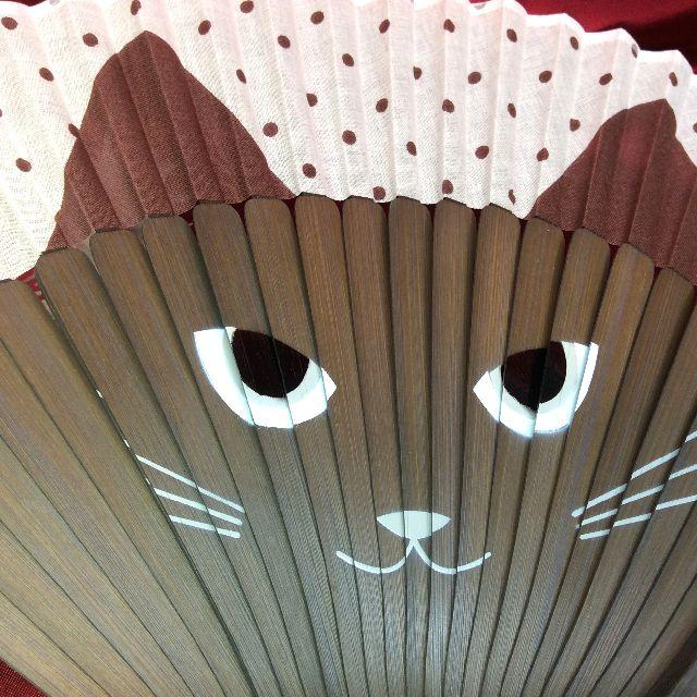 水玉猫の顔扇子のクローズアップ画像