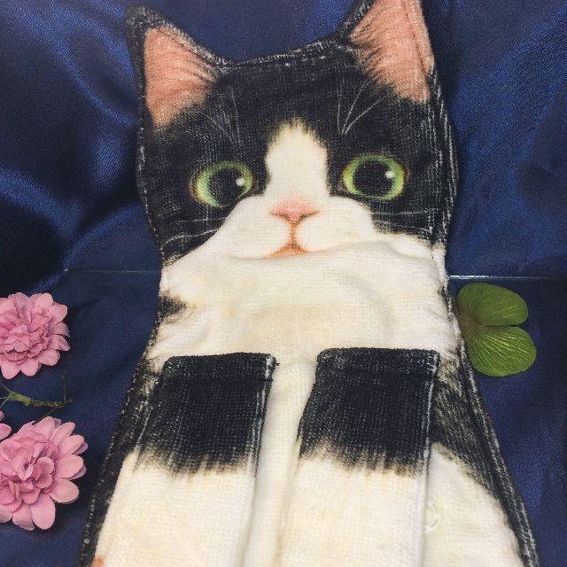 フェリシモ猫部のなが~い猫タオル「白黒ハチワレ猫」のクローズアップ画像