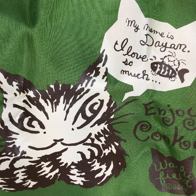 猫のダヤンのエコバッグ「クッキング」緑色の柄のクローズアップ画像
