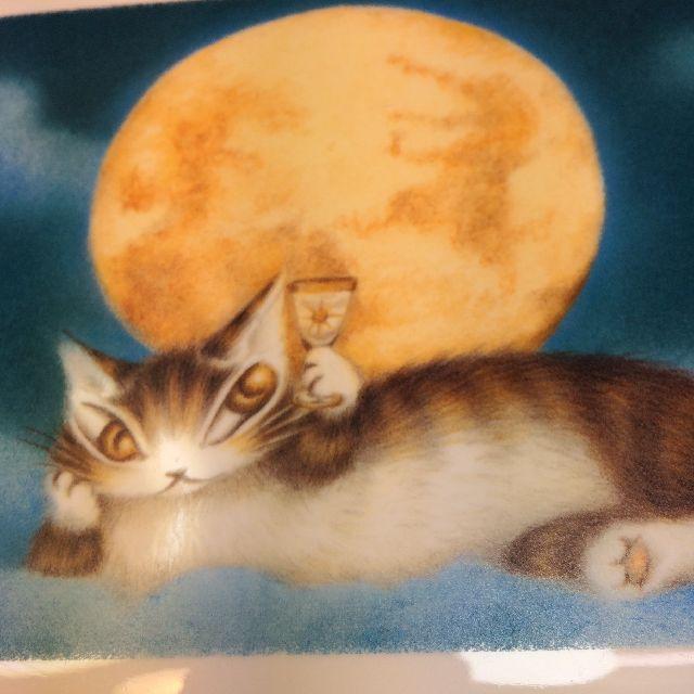 猫のダヤンのアートマスクケース「月に乾杯」のおもて側絵柄のクローズアップ画像