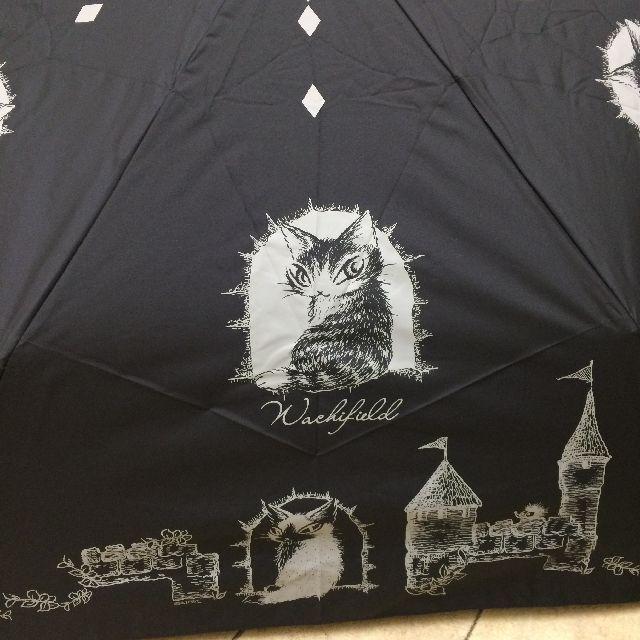 猫のダヤンの遮光ミニ折りたたみ傘「お城」柄の絵柄のクローズアップ画像