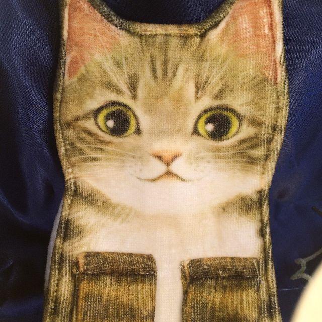 フェリシモのキジトラ猫のタオルの顔部分のクローズアップ画像