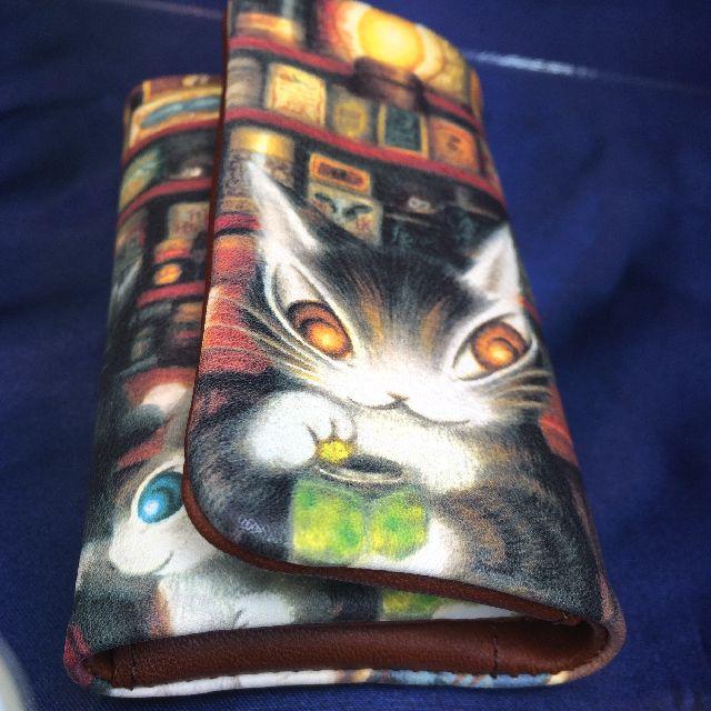 猫のダヤンの本牛革キーケースグロッサリー柄のオモテ側画像