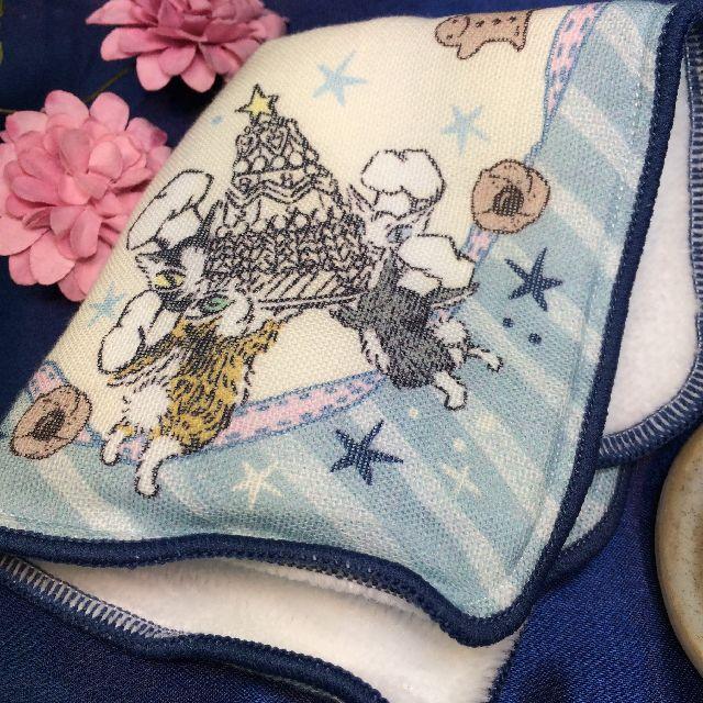 猫のダヤンのプチガーゼタオルハンカチ「お菓子」を畳んだ画像