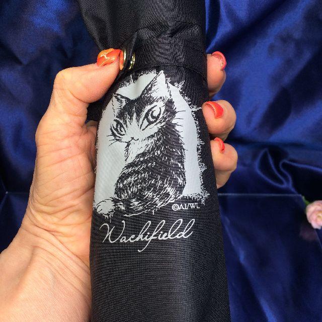 猫のダヤンの遮光ミニ折りたたみ傘「お城」柄を畳んで手に持った画像