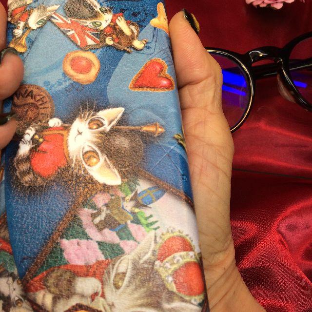 ダヤンの折り畳みメガネケース「ロンドンⅡ」を手に持った画像