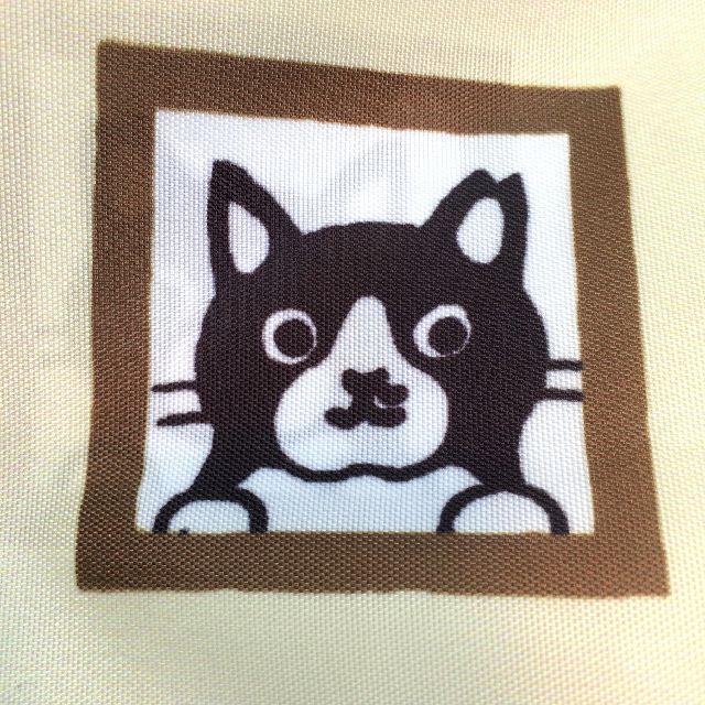 白黒猫エコバッグのてんちゃんのクローズアップ画像