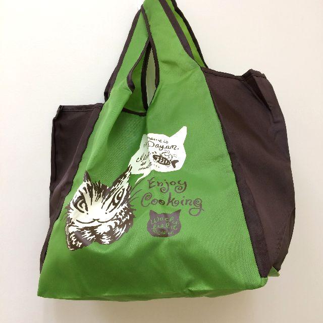 猫のダヤンのエコバッグ「クッキング」緑色の表側の画像