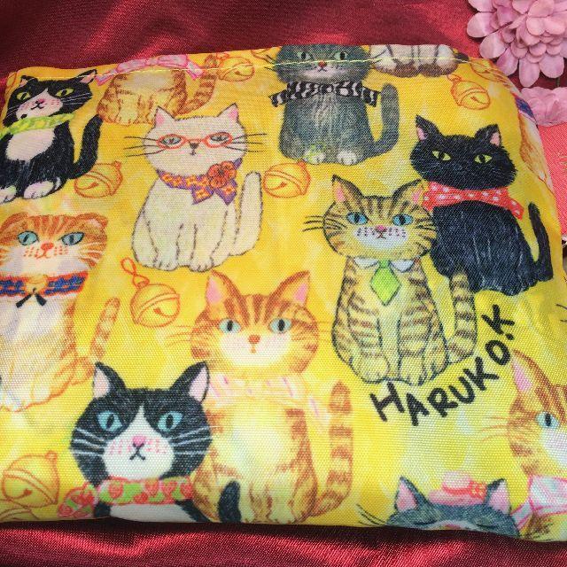 北村ハルコエコバッグ「猫が整列したら」を畳んだ表側の画像
