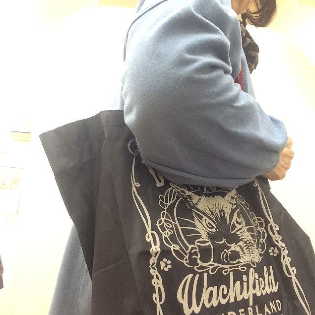 エコネコダヤンしっぽトートバッグを肩に掛けた画像