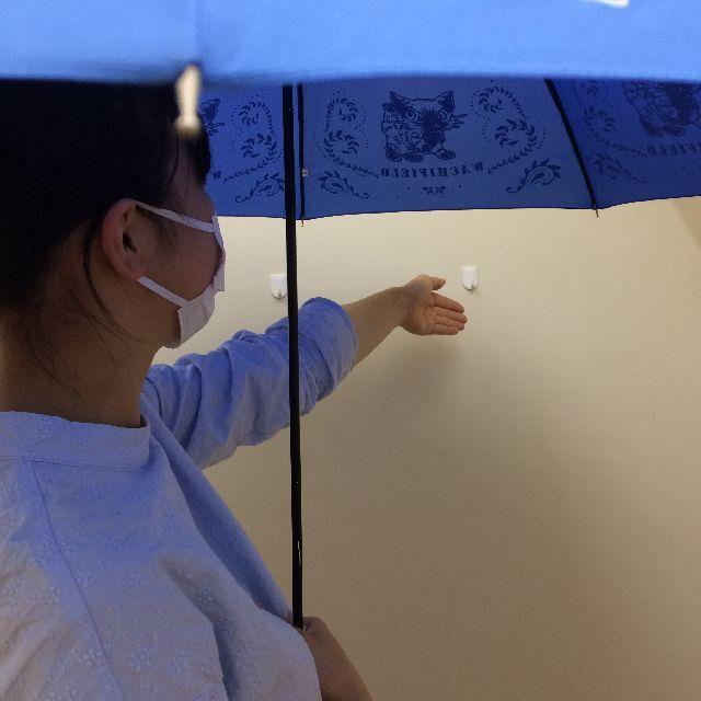 猫のダヤンの長傘「おさんぽ・猫模様」柄を差して手を伸ばした画像