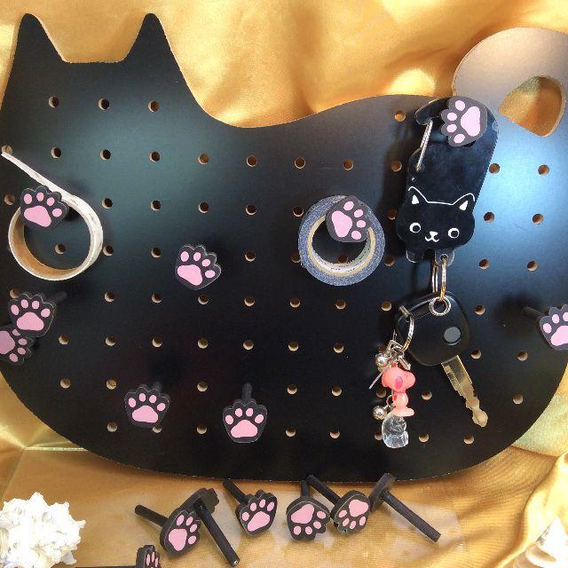 黒色猫型ペグボードの全体画像