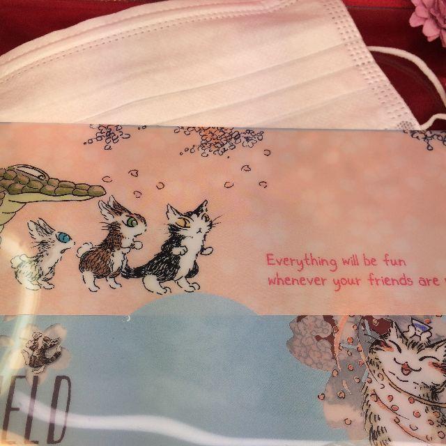 ダヤンの抗菌マスクケース「桜」柄のおもて側の全体画像