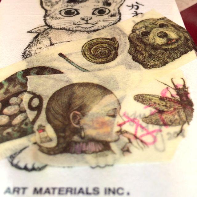 ヒグチユウコさんのマスキングテープを重ね貼りした画像