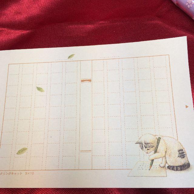 ポタリングキャットのメモ帳「ミニ原稿用紙」の1柄目のサバトラ猫柄のメモ用紙の全体画像