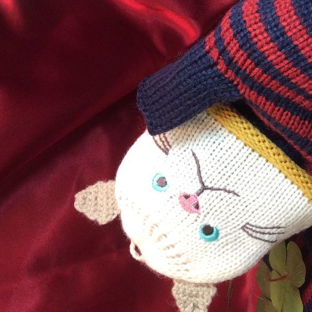 猫のターチャンのミトン2WAY手袋の左右を並べた画像
