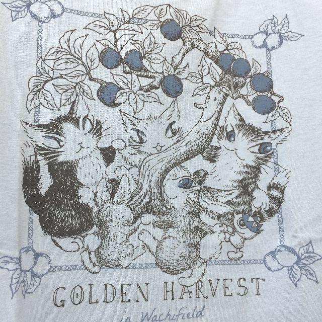 猫のダヤンのクルーネック7分袖Tシャツ「GOLDEN HARVEST」柄の胸の絵柄の画像