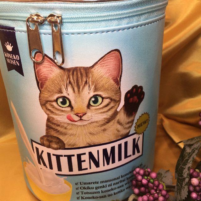 フェリシモ猫部のバニティーポーチーブルー色キジトラの絵柄画像