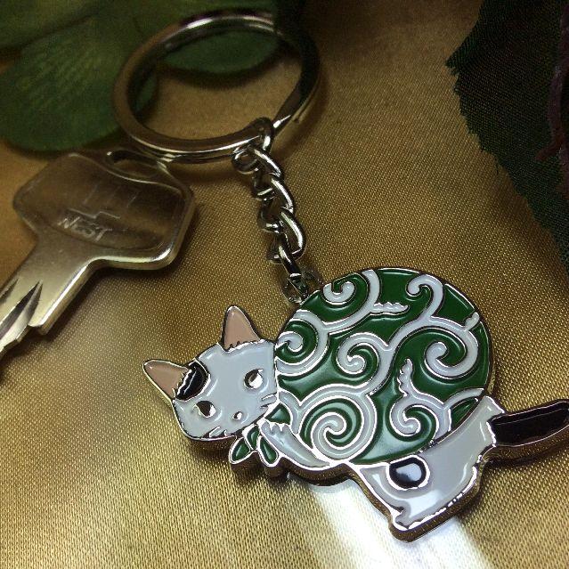 ポタリングキャットのキーリング泥棒猫に鍵を付けた画像
