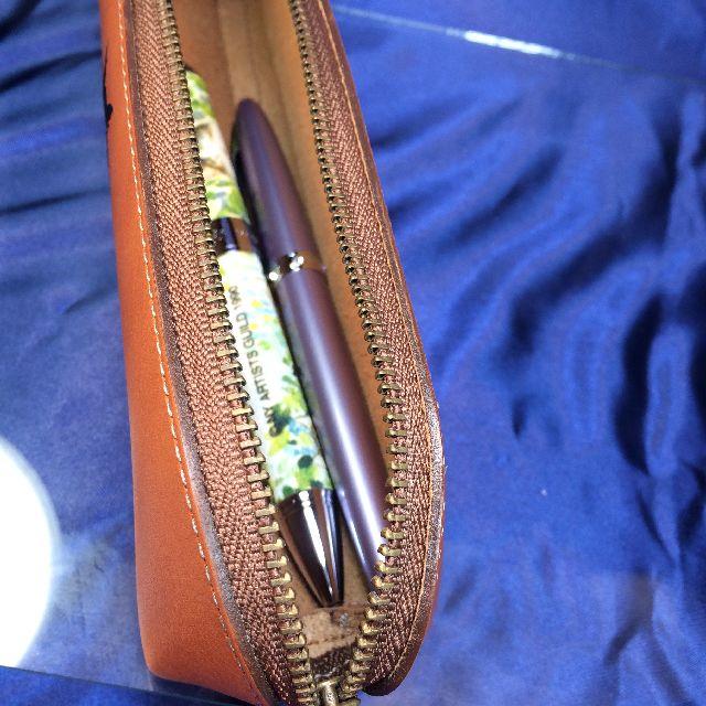 猫のダヤンの本牛革ペンケース「DB#4」にペンを入れた画像