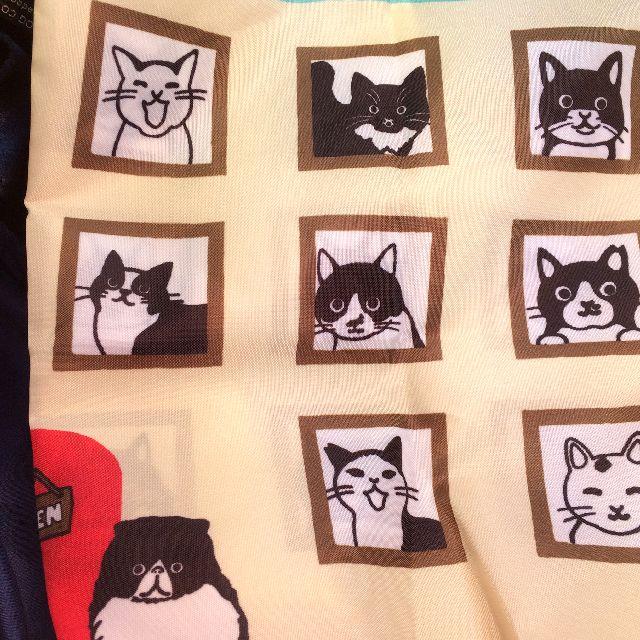 プレーリードッグの白黒猫エコバッグの表の左側の絵柄のクローズアップ画像画像