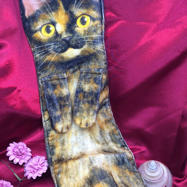 フェリシモ猫部のなが~い猫タオルサビ猫のおもて面の画像