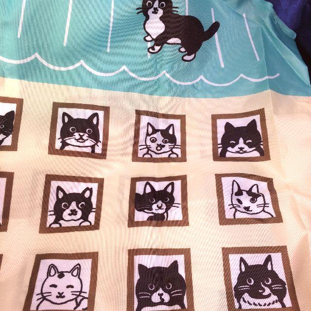 白黒猫エコバッグの表の右側の絵柄のクローズアップ画像
