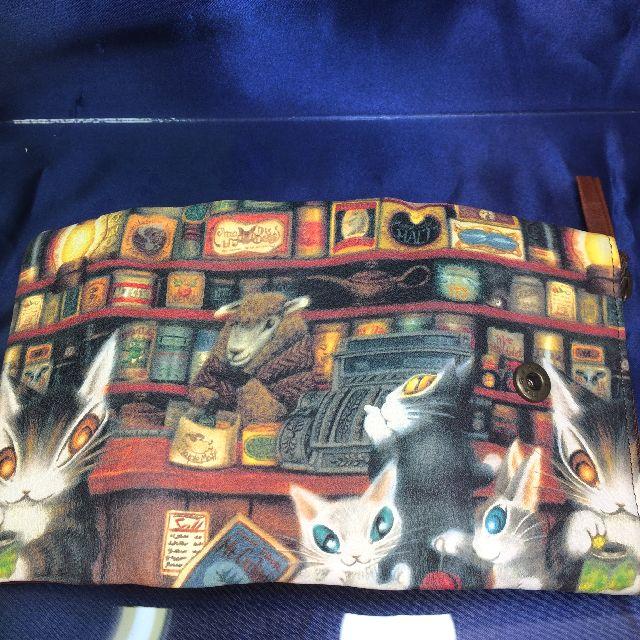 猫のダヤンの本牛革キーケース「グロッサリー」柄のオモテ側の全体画像