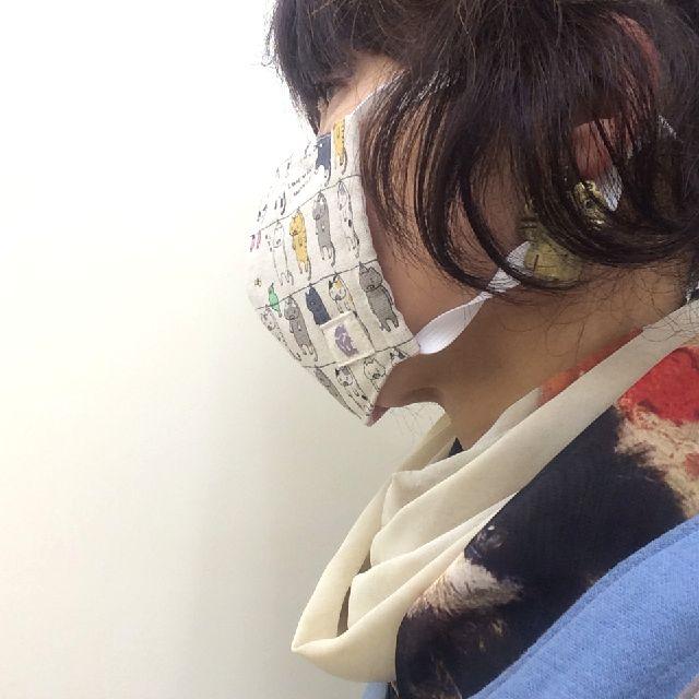 匠倶楽部猫柄ハンドメイドマスクを着用した画像