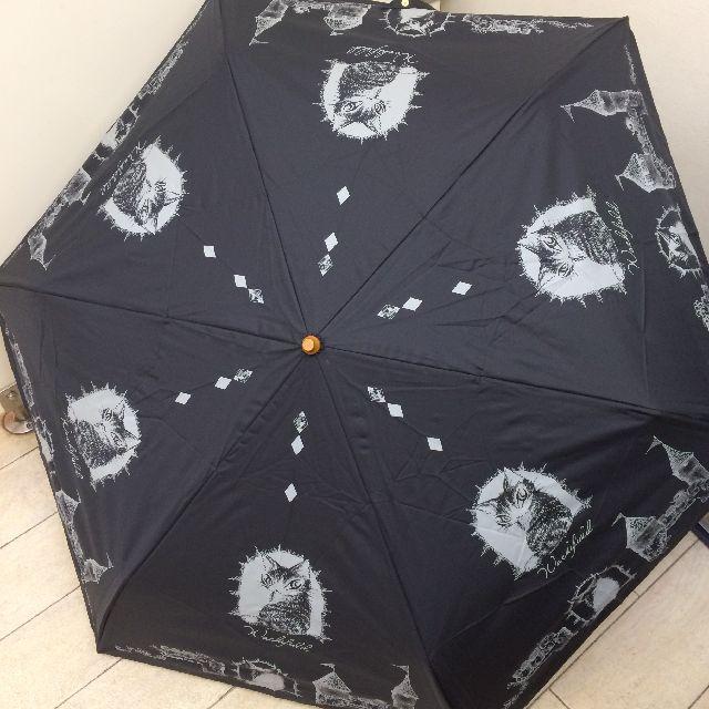 猫のダヤンの遮光ミニ折りたたみ傘「お城」柄の全体画像